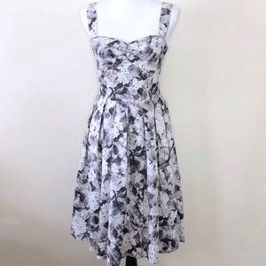 Talbots Gray White Floral Midi Sundress